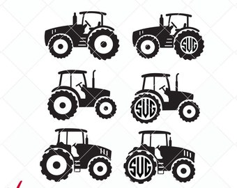 tractor svg bundle, tractor dxf, farm svg, jpg, png, ai cutting files, clip art, printable, Silhouette Cameo, initials, monogram
