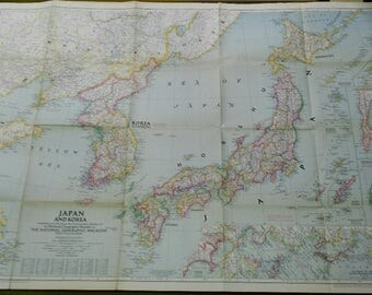 map National Geographic JAPAN and KOREA 1945 1: 3,000,000
