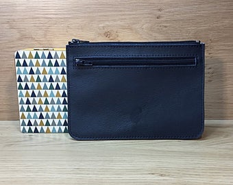 Navy blue leather pouch