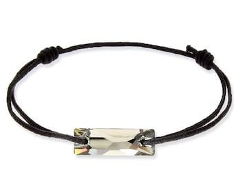Adjustable black cord, smoky gray Swarovski Crystal bracelet