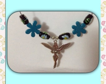 Blue Tinkerbell resin Flower necklace.