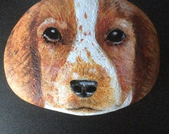Hand painted with acrylics, dog on a small pebble