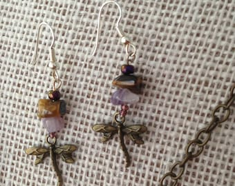 AMETHYST TIGER EYE Dragonfly Pendant Gemstone Chain Necklace and Earrings
