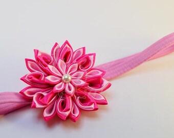 Kanzashi hair Ribbon, satin flower, headband, baby, kanzashi, fabric flower, Pearl