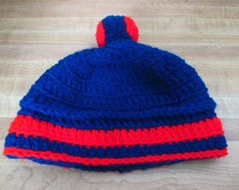 Red and Blue Crochet Hat/Beanie with Pompom