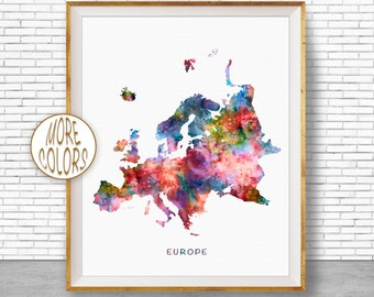 Europe Map, Europe Print, Map of Europe, Europe Continent, Map Wall Art Print, Travel Map, Travel Decor, Office Decor, Office Wall Art