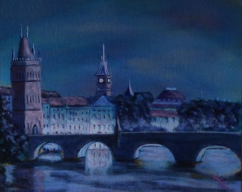 charles bridge Prague. original acrylic painting. evening over the river bridge