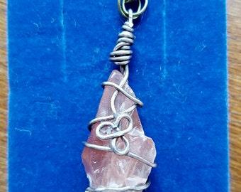 Rose Quartz Crystal Pendant on a Bronze Chain Necklace