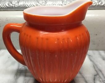 """Antique fiesta orange & milk glass creamer pitcher 4.25"""""""