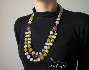 Spring love is beads from natural stones. Beautiful, fresh and spring beads from a pink quartz and jadeite.