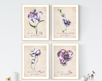 Botanical print set, Botanical print, Nursery print set, Art print set, Vintage print, Vintage decor, Flower art, Wall art set, Flower art