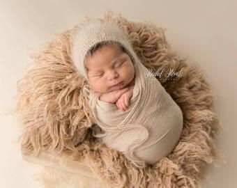 BEIGE Angora bonnet/ Newborn bonnet / sitter bonnet / newborn photography prop / knit bonnet / newborn photo prop / beige bonnet / preorder