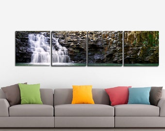 LIMITED EDITION - Twin Falls -Maui, Hawaii - 4 Panels Art Canvas Print - Home Decor interior