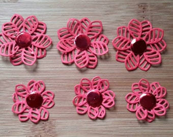 3d red flowers pack 10