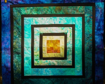 Hot Springs Meditation Pool Art Quilt Wall Hanging