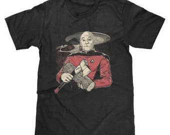 Star Trek Captains Log Shirt Jean-Luc Picard (Licensed) Available in Adult & Youth Sizes