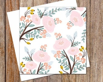 Greeting Card. Female Greeting Cards. Pale Pink Flowers. Any Occasion Card. Birthday Card. Thinking of You Card. Blank Card. Gift Cards.