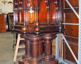 Antique 1840s Gothic Walnut Church Pulpit, Religious Furniture, Vintage
