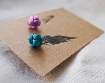 Traditional Chinese Woven Studs Earrings, Button Knot