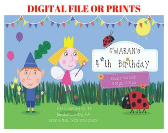 Ben and Holly's Little Kingdom Invitation, Ben & Holly's Little Kingdom Birthday Invitation, Ben and Holly's party invite