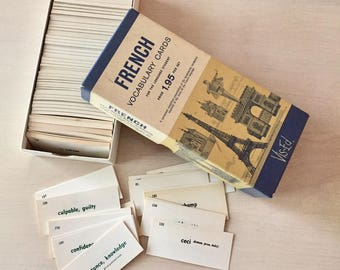 Vintage French-English flash cards