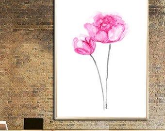 Peony art print Peony poster Peony watercolor print Peony wall art Peony painting Peony illustration Peony light pinkt Peony flower
