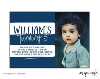 Stripes - Birthday Printable Invitation