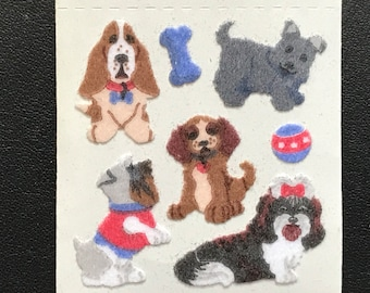 Sandylion Stickers Scrapbooking Fuzzy Vintage Dogs, Dog, Ball and Bone    (1 mod)