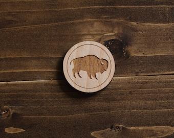 Wooden Bison Silhouette Pin - Laser Cut Pin