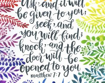 Matthew 7:7 Bible Verse brush lettering illustration print