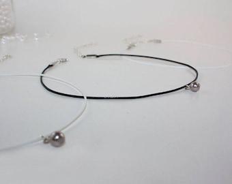 Pearl Choker, Hanging Pearl Necklace, Choker Necklace, Gray Bead Jewlery, Bead Choker, Beaded Choker, Pendant Choker, Bohemian Jewelry