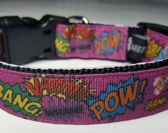 Pink Comic Sound FX Dog Collar