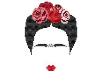 PDF cross stitch pattern, modern cross stitch, Frida Khalo cross stitch pattern, modern embroidery, Frida portrait, counted cross stitch