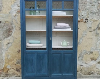 Valerie - Cabinet painted in blue inside white wooden bookcase