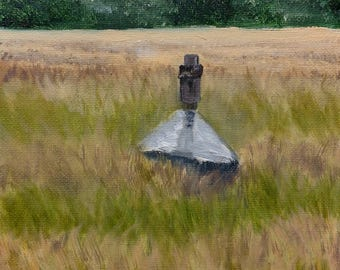 Original small oil painting of Bird House in Field