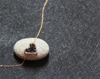 14k gold filled black heart necklace
