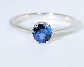 Blue Sapphire Ring| White Gold Ring| Solitaire Ring| Engagement Ring| 18k Gold Ring| Rose Gold Ring| Anniversary Gift| Gift For her|Sapphire