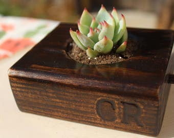 "4"" SUCCULENT WOOD PLANTER for fathers day, gift, home and office decor, special event favor, wedding"
