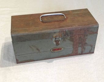Vintage Greenish/Gray DunlapTool Box - Cottage Chic, Rustic, Farmhouse, Industrial Decor - Garden Planter