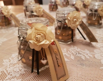 10 Wedding Favours mini Jars of Sweets