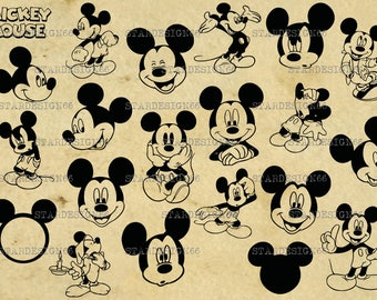 Digital SVG PNG JPG Mickey Mouse, silhouette, vector, clipart, instant download