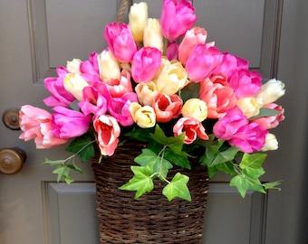 Colorful Tulip Market Basket