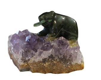 Canadian Nephrite Jade Bear with Fish on Amethyst