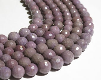 Facetted Purple Jade Beads - Natural Stone Beads - Facetted Round Graduated Strand - Undyed - Untreated