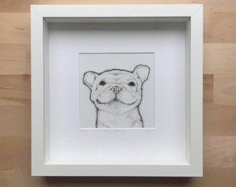 Original drawing of a dog portrait black and white affordable wall art franse bulldog dieren illustratie potlood zwart wit houten kader