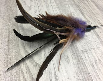 Cat toy |XL feather crown - lavender | 115cm-45in long cat toy | Feather cat toy | Steel wire cat toy | Indoor cat toy | Bestselling cat toy