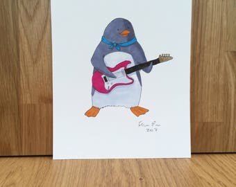 Penguin playing electric guitar, signed giclee print 5x7 inch