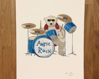 Polar bear drummer, signed giclee print 8x10 inch