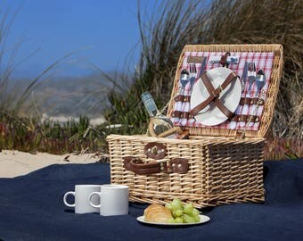 Beach Picnic Basket | Handmade, Picnic Wine, The Picnic Basket, Picnic Baskets, Bridesmaid Gift, Hand Woven Basket, Picnic Basket Gift