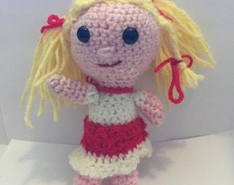 Handmade crocheted blonde doll amigurumi